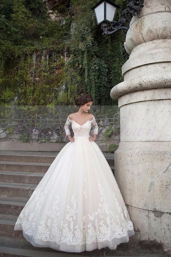 Vestido De Novia Sheer Long Sleeve Flora Lace Appliques Bridal Gowns Luxury Princess Ball Gown Mother Of The Bride Dresses