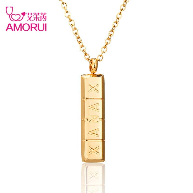 Amorui moda Xanax vertical píldora bar colgante collar ID Acero inoxidable mujeres Collares de cadena Rosa oro plata colgante Collier
