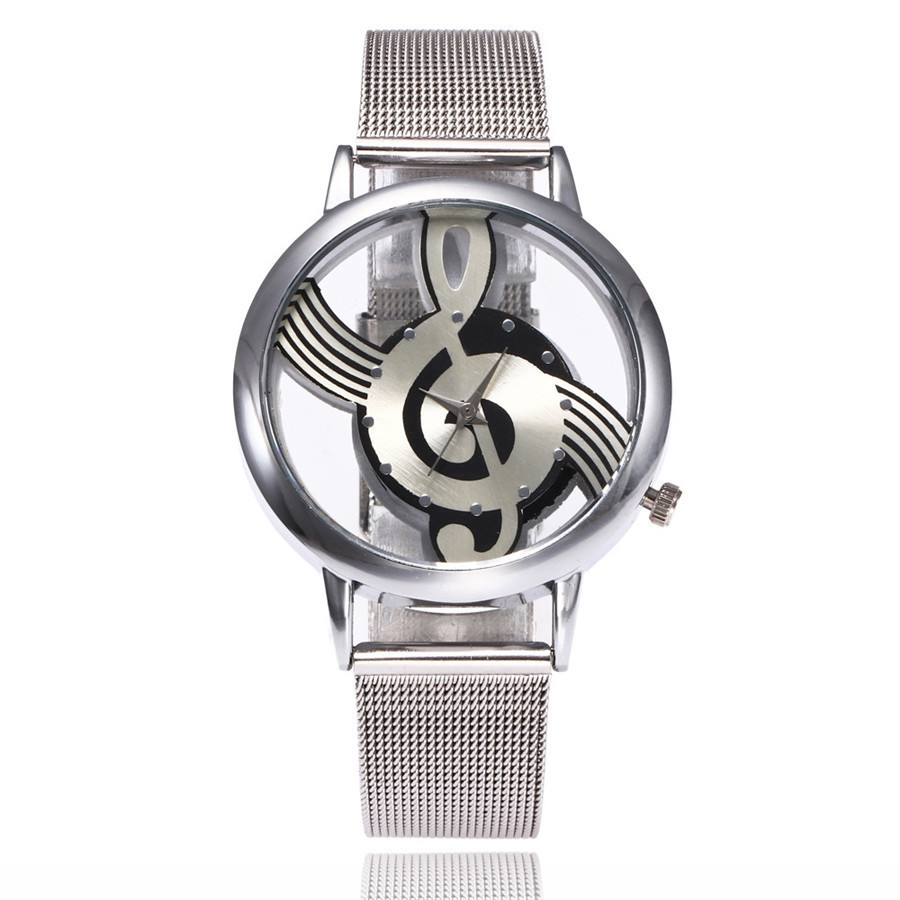 2017 New Brand Fashion Hollow Music Note Notation Watch Stainless Steel Quartz Wrist Watch For Men Women Silver Mesh Watches