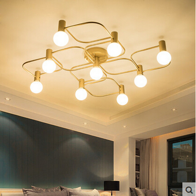 Z Europe Du Nord grand salon led Bronze plafond lampe moderne simple