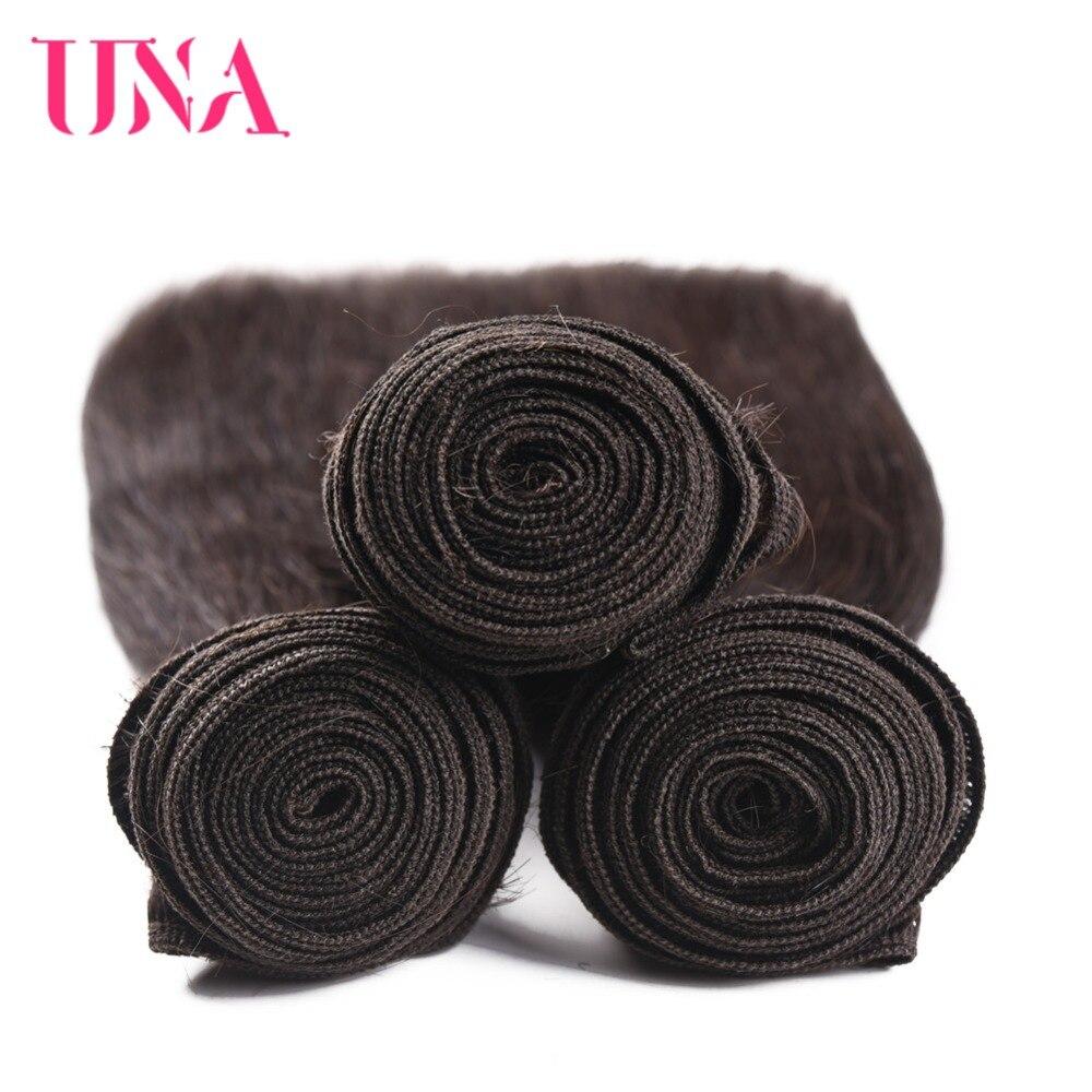 UNA Brazilian Hair Weaves 1 Piece # 2 Brasilian Straight Non-Remy - Mänskligt hår (svart) - Foto 5