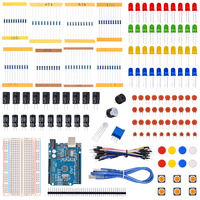 Starter Kit for LED / Capacitor / Jumper Wires / Breadboard resistor Kit with UNO R3 (CH340G) MEGA328P