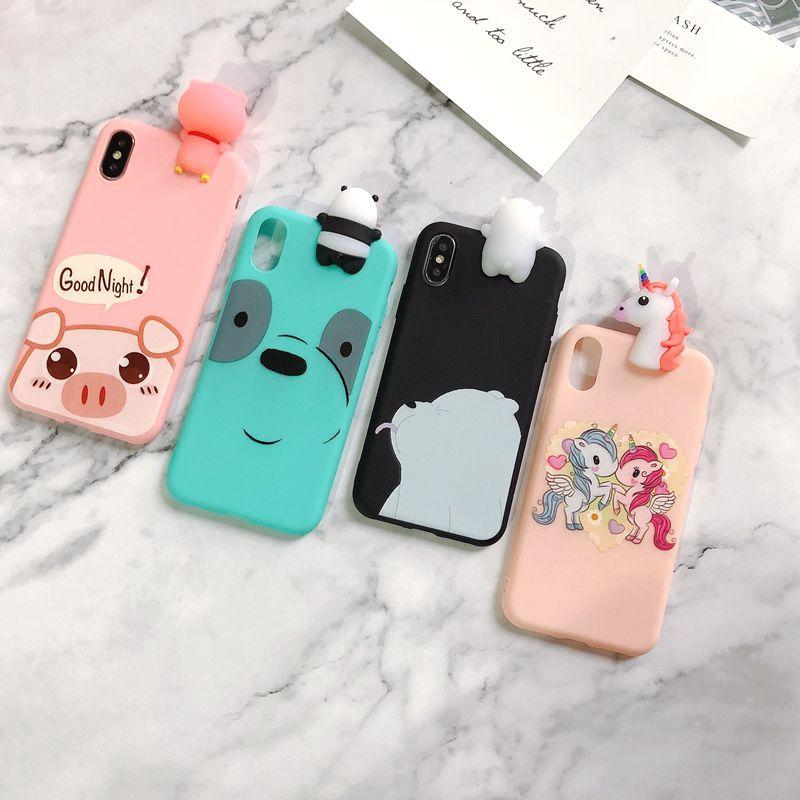 S10E S10 Plus Case for Coque Samsung S10 Plus Back Cover 3D Bear Pig Soft Case for Funda Samsung Galaxy S10E S10 Plus S10+ Case