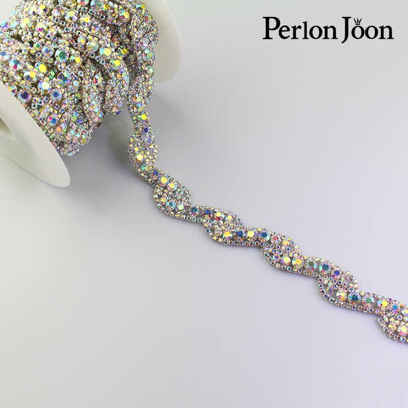 1 yard nastro AB di cristallo strass assetto Nastro di metallo catena per abito Da Sposa, borsa, scarpe accessori ML050