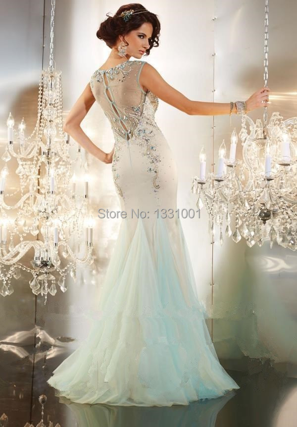 2015 Crystal Mermaid Long Prom Dresses Seafoam Prom Dress Sleeveless ...