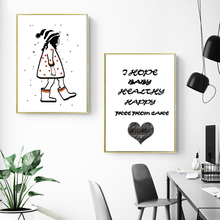 Girl Heart Quotes Cartoon Minimalist Nordic Posters And Prints Wall Art Canvas Painting Pictures For Living Room Home Decor