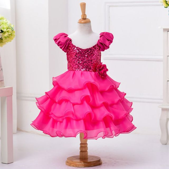 Cool Summer Girl Sleeveless Sequined Floral Ball Gown Party Layered Dresses one Piece Daily Dress