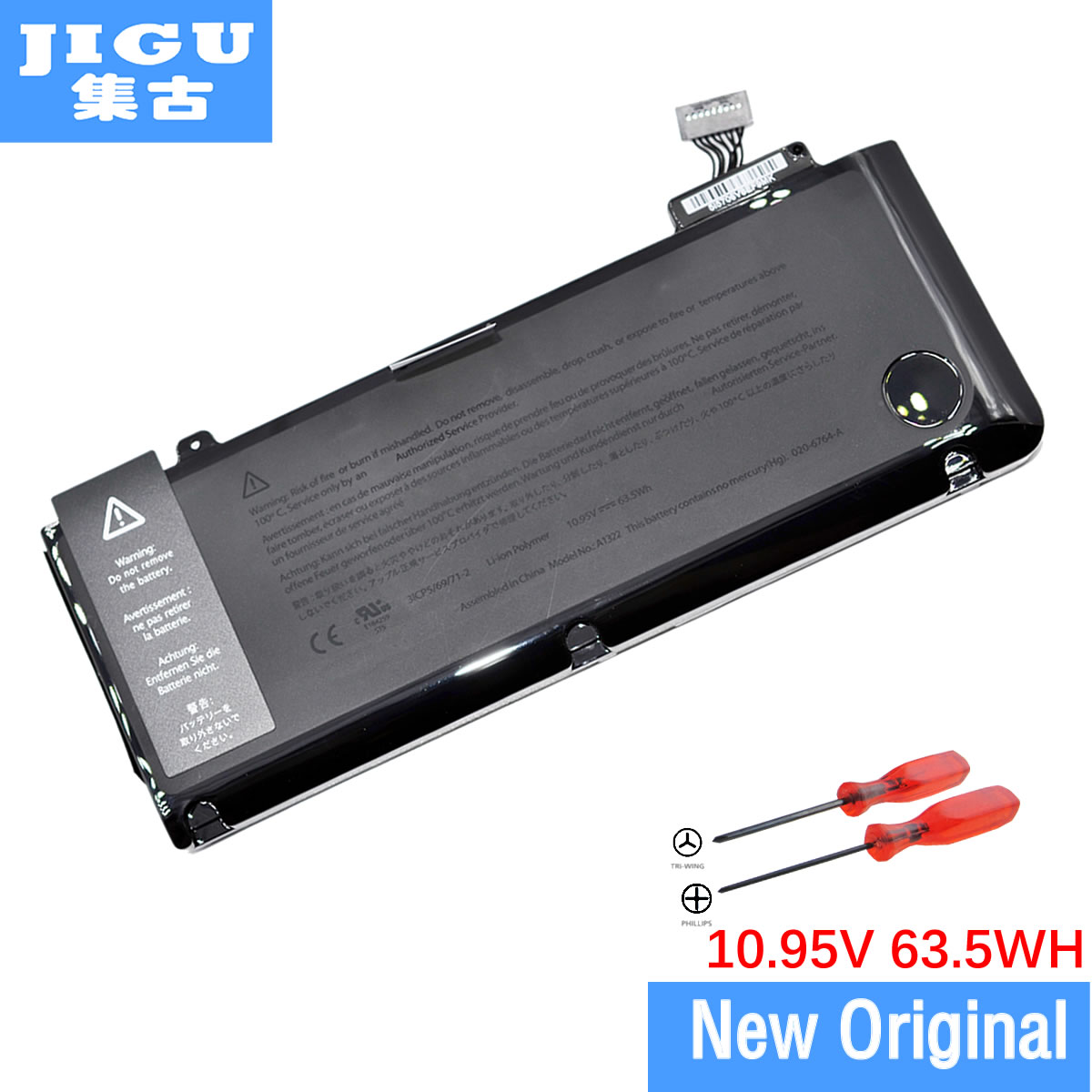 JIGU New Genuine Original A1322 Battery For Apple for Macbook Pro 13 Unibody A1278 2009 2010 2011 2012 Version 10.95V 63Wh original top case palmrest for macbook pro unibody 13 a1278 2011 2012 years