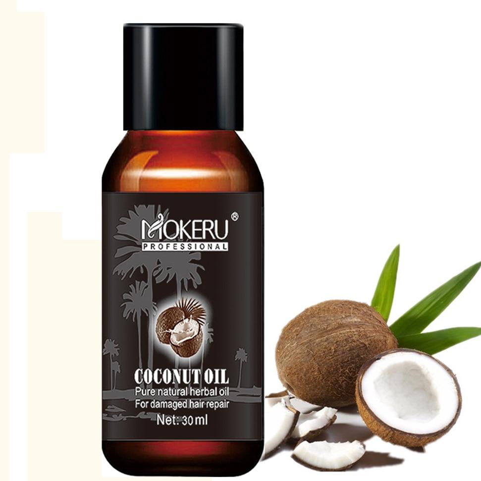 Mokeru 2pc/lot 30ml Organic Coconut Oil Hair Food Repairing Damaged Hair Growth Serum Essential Oil Hair Loss Products For Woman