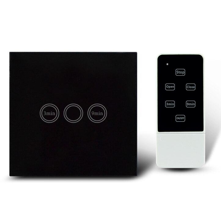 Interrupteur de minuterie de lumière à télécommande de Type ue, RF 433 Mhz, commutateur mural de retard de temps d'écran tactile de maison intelligente 1 voie