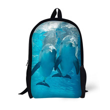 Dolphin Printing Backpack Children School Bags For Teenager Girls Backpacks Laptop 17 Inch
