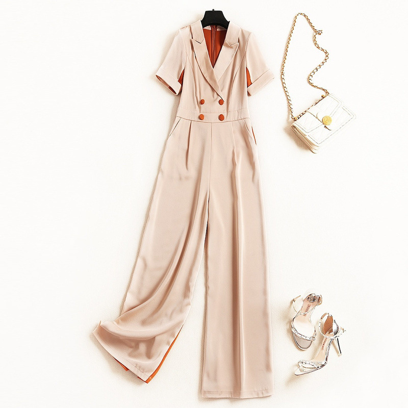 Shuchan Office Lady 2019 Women Designer Jumpsuits Women Button High Fashion Korean Solid Women Rompers Clothing New 51232 in Jumpsuits from Women 39 s Clothing