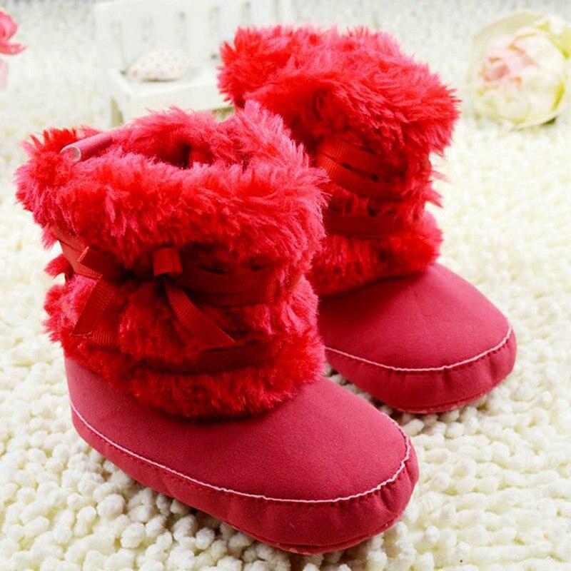 Winter Fleece Newborn Baby Moccasins Warm Pre-walker Bow-knot Shoes Infant Boy Girl Soft Soled First Walker 4 Colors 2017 New