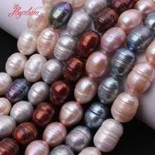 07b167a186a9 Cuentas de perlas de agua dulce cultivadas ovaladas de 9-11mm cuentas de  piedra Natural
