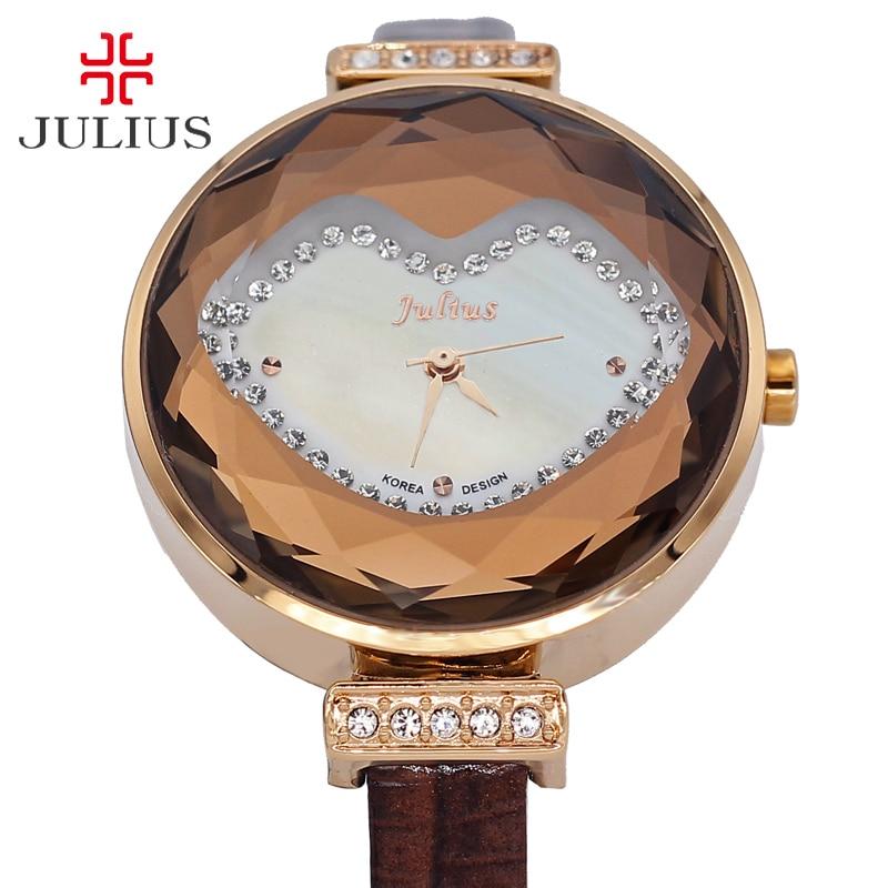 ФОТО Julius Lady Women's Watch Japan Quartz Hours Clock Fashion Dress Cute Retro Bracelet Hot Lips Leather Girl Birthday Gift Box 582