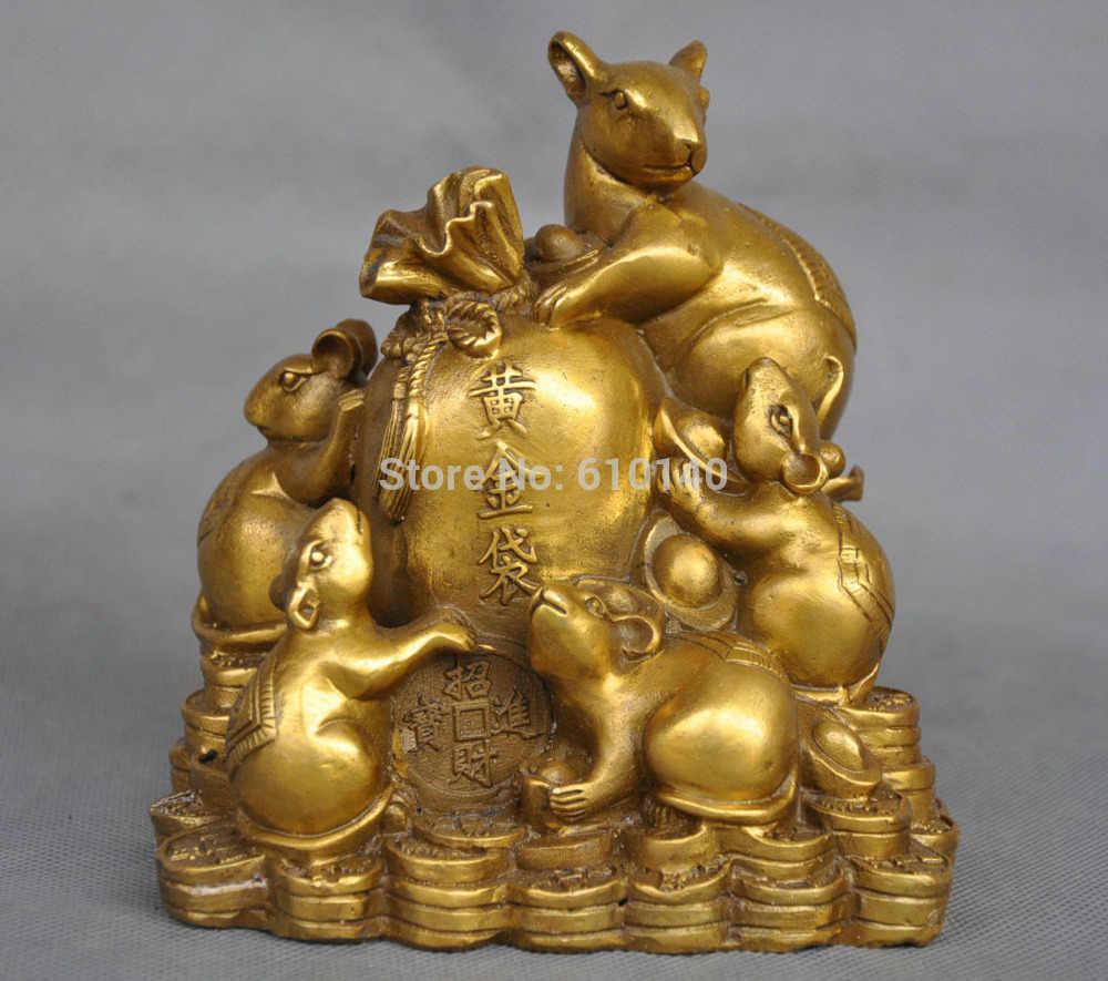 WBY 5 ''Китай Зодиака Пять Крысы Мыши Деньги Монета Мешок Бронзовая Статуя
