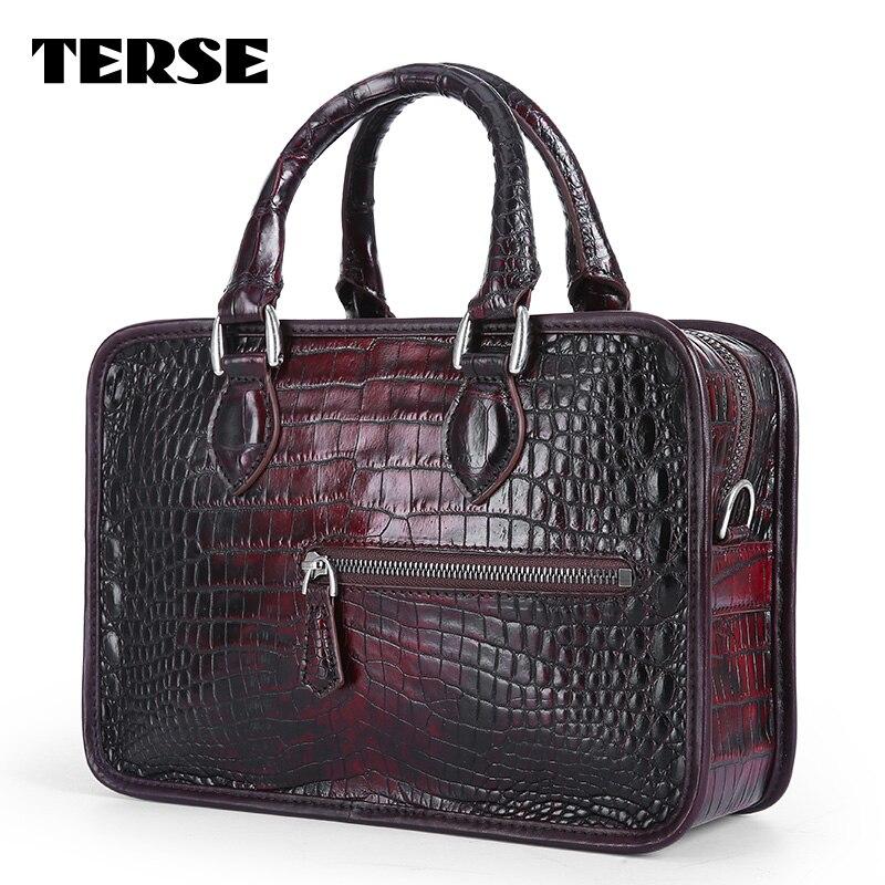 TERSE_Handbags luxuskrokodilleder tote tasche handgefertigt aus echtem leder mini aktentasche burgund handtasche fabrik preis LN0422