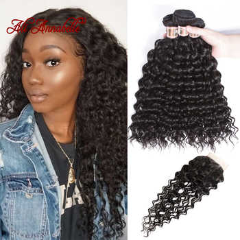 Peruvian Water Wave Bundles With Closure 100% Human Hair Bundles With Closure Remy Hair Weave 3 Bundles with Lace Closure - DISCOUNT ITEM  44% OFF All Category