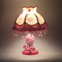 European Pastoral Lace Princess Table Lamp Cloth Glass Bedroom Bedside Lamp Purple Red Pink Children S
