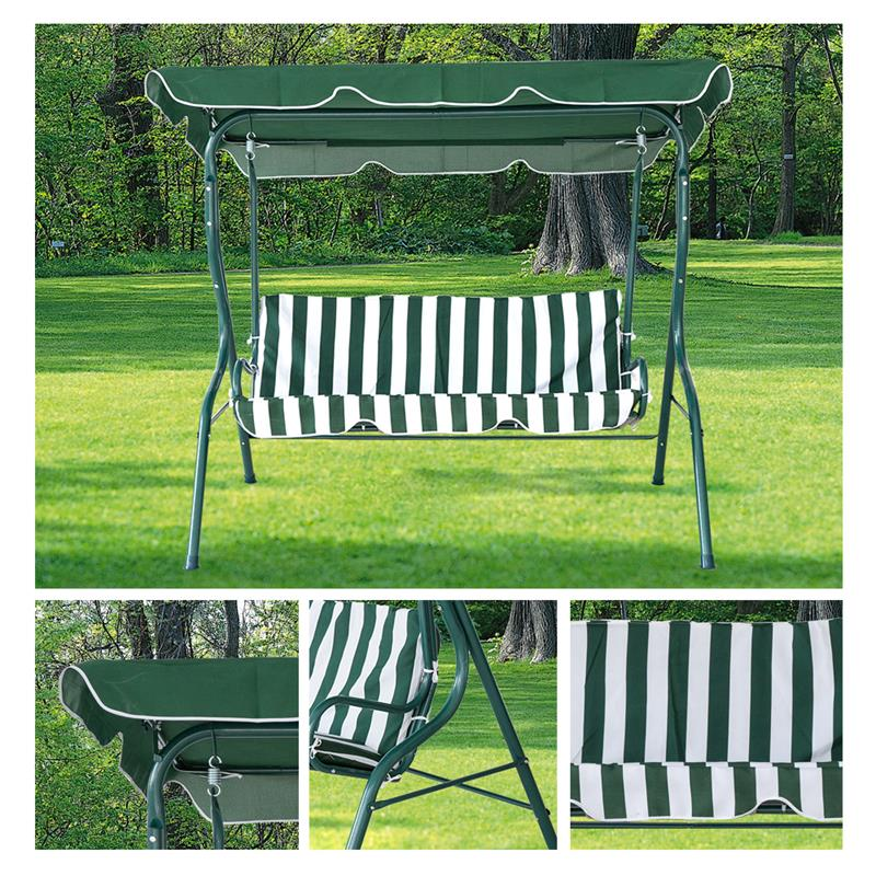 Karmasfar Outdoor Stripe Swing 3 Seats Canopy Chair Garden Backyard Porch Cushioned Furniture In Patio Swings From On