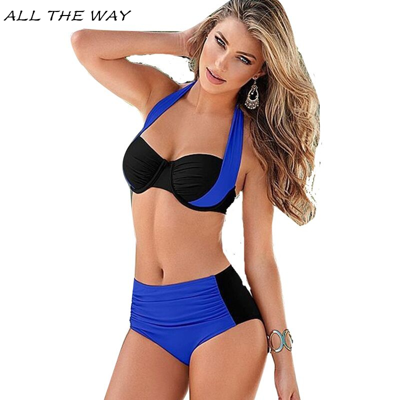 Brazilian Biquin 2017 Sexy Halter Swimsuit Women Push Up Bikinis Plus Size Swimwear High Waist Beachwear Swim Bathing Suits FT41 sexy women brazilian print halter bikini bathing suits swimsuit for girls high neck low waist bikinis push up swimwear