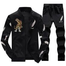 Мужской спортивный костюм Спортивный пиджак Спортивный пиджак Брюки Брюки Тигровый патч Синий Черный