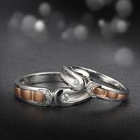 18 К Two Tone золото натуральный кольцо с бриллиантом пара набор обручальное ручной работы Обручение Jewelry розовое и белое золото