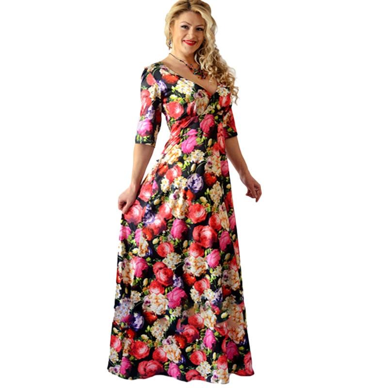 Пляжное платье Повседневное V Средства ухода за кожей шеи Половина рукава Цветочный принт Платья для женщин Для женщин длиной макси платье ...