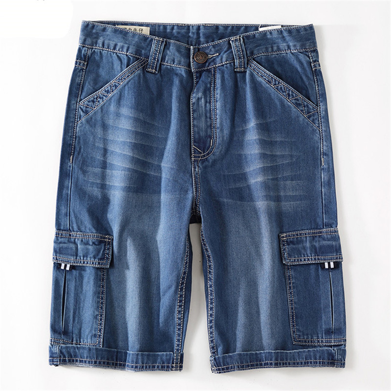 MORUANCLE Mens Casual Cargo Denim Shorts Baggy Loose Tactical Short Jeans For Man Multi Pockets Plus Size 28-44 Straight