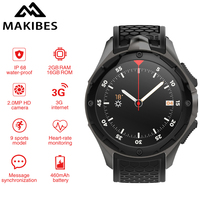 Makibes M2 независимых 3g вызова часы с компасом Для мужчин Смарт часы телефон IP68 Android 5,1 2 GB/16 GB gps Nano SIM WI FI PK ALLCALL W2