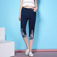 2018 Summer New Lace Stitching Calf Length Pants Denim Cotton Straight Jeans Women S Fashion Enbroidery