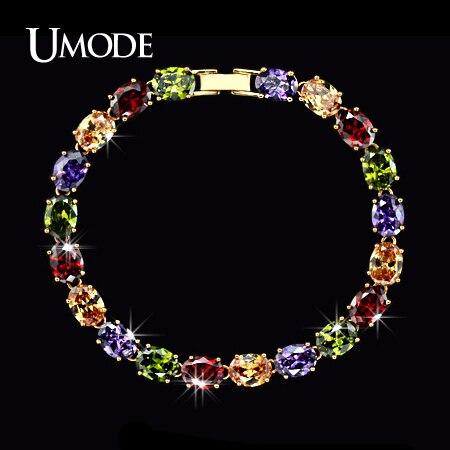 UMODE New Rose Gold Color Female Bracelet for Women Colorful Charm Oval Cubic Zircon Strand Bracelet & Bangle UB0011 pair of elegant faux gem zircon oval floral bracelet for women