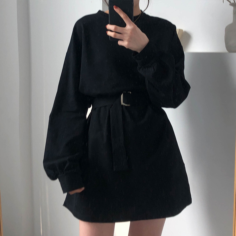 7 Colors Long T Shirt Women New Solid Color Female T-shirt Autumn Waist Belt Long Sleeve Shirt Women Casual Korean Tops 2019