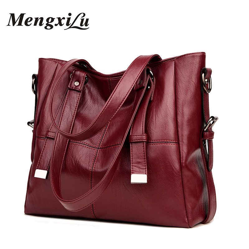 MENGXILU Brand Large Capacity Women Handbags High Quality PU Leather Women Bags Soft Patchwork Ladies Bag Big Casual Tote Bags imido 2017 europe large capacity pu leather bags ladies brand designer bag women handbags tote quality black blue bolsa hdg037