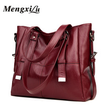 MENGXILU Brand Large Capacity Women Handbags High Quality PU Leather Women Bags Soft Patchwork Ladies Bag Big Casual Tote Bags