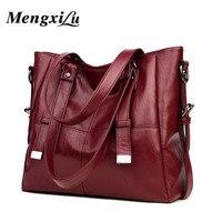 MENGXILU Brand Large Capacity Women Handbags High Quality PU Leather Women Bags Soft Patchwork Ladies Bag