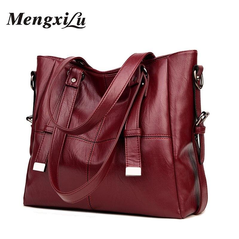 MENGXILU Patchwork Women Shoulder Bags Large Capacity Women Handbags High Quality PU Leather Women Bags Big Casual Tote Bags