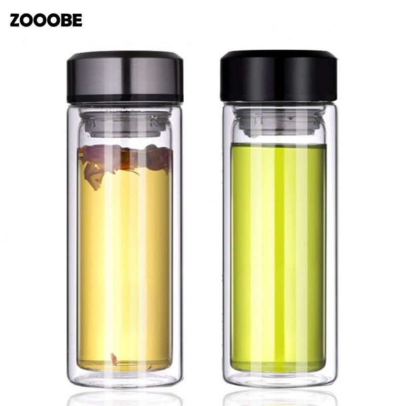 ZOOOBE Double wall Tea glass water bottle with Stainless Steel strainer drinking infuser Glass bottle Bussiness Home Drinkware