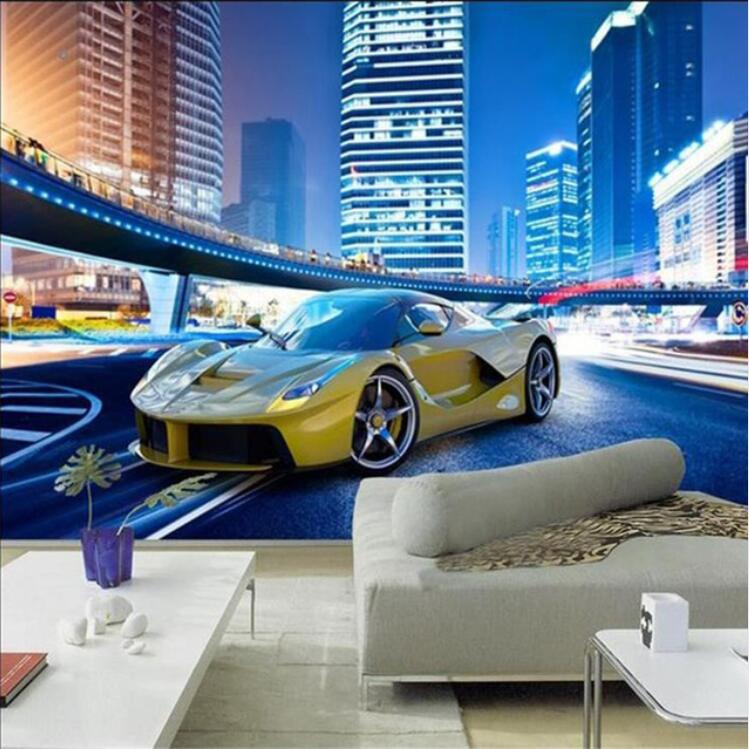 Cool Yellow Sports Car City Night Landscape 3D Wall Mural