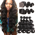 Beauty 10A Peruvian Virgin Hair With Closure Body Wave Rosa Hair Products With Closure 4 Bundles Peruvian Body Wave With Closure