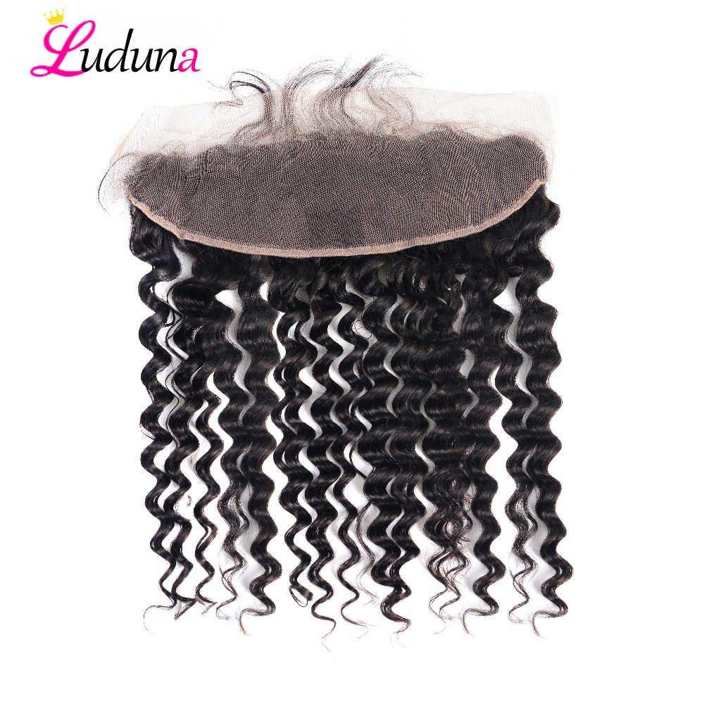 Luduna Lace Frontal Closure Brazilian Deep Wave 13x4 Ear To Ear Lace Frontal Closure Remy Human Hair Closure With Baby Hair