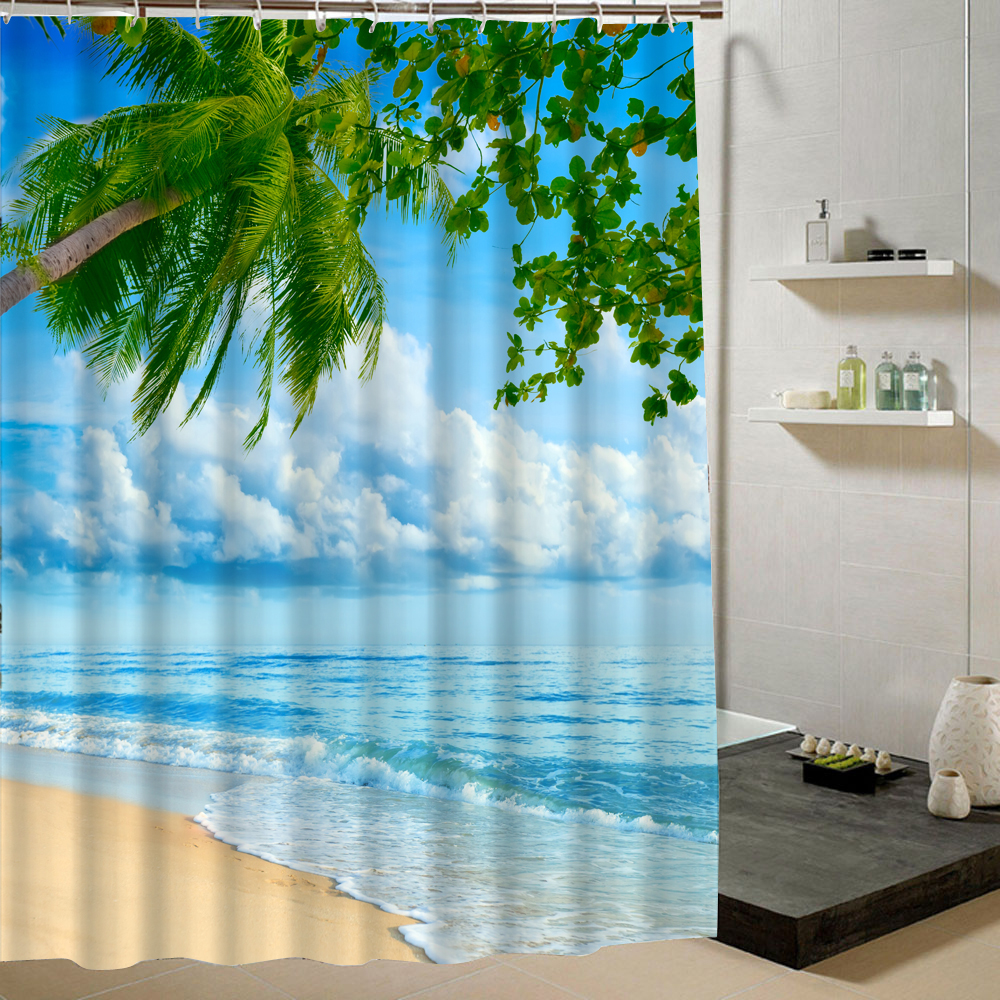 Beachy shower curtains - Aliexpress Com Buy Summer Beach Shower Curtain Blue Green Pattern 3d Printing Curtain For Bathroom Decorative Product Bathroom Curtain Liner Drape From