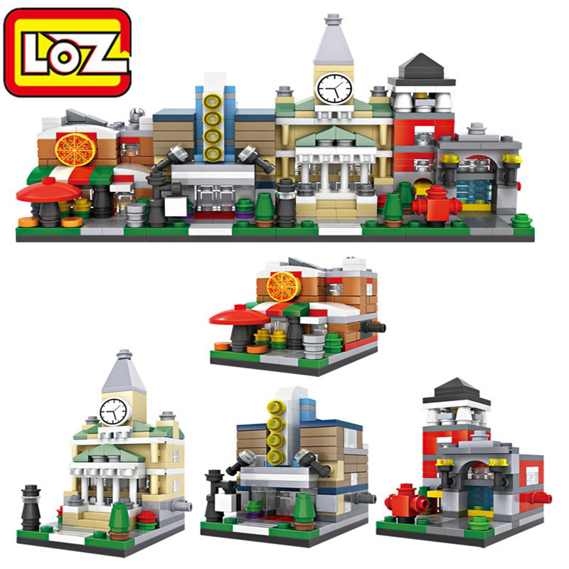 Mini Block LOZ Architecture Pizza Store Opera House Street Scene Diamond Action Figure Educational Building Block Xmas Gift 1409 loz 160pcs m 9338 super mario brothers building block educational boy girl gift for spatial thinking