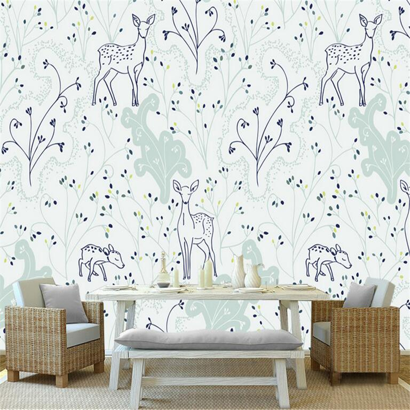 Custom 3d Stereoscopic Wallpaper Hand Painted Elk Small Floral Vine Minimalist Wall Paper for Kids Room TV Background Wall Mural custom floral wallpaper 3d stereoscopic