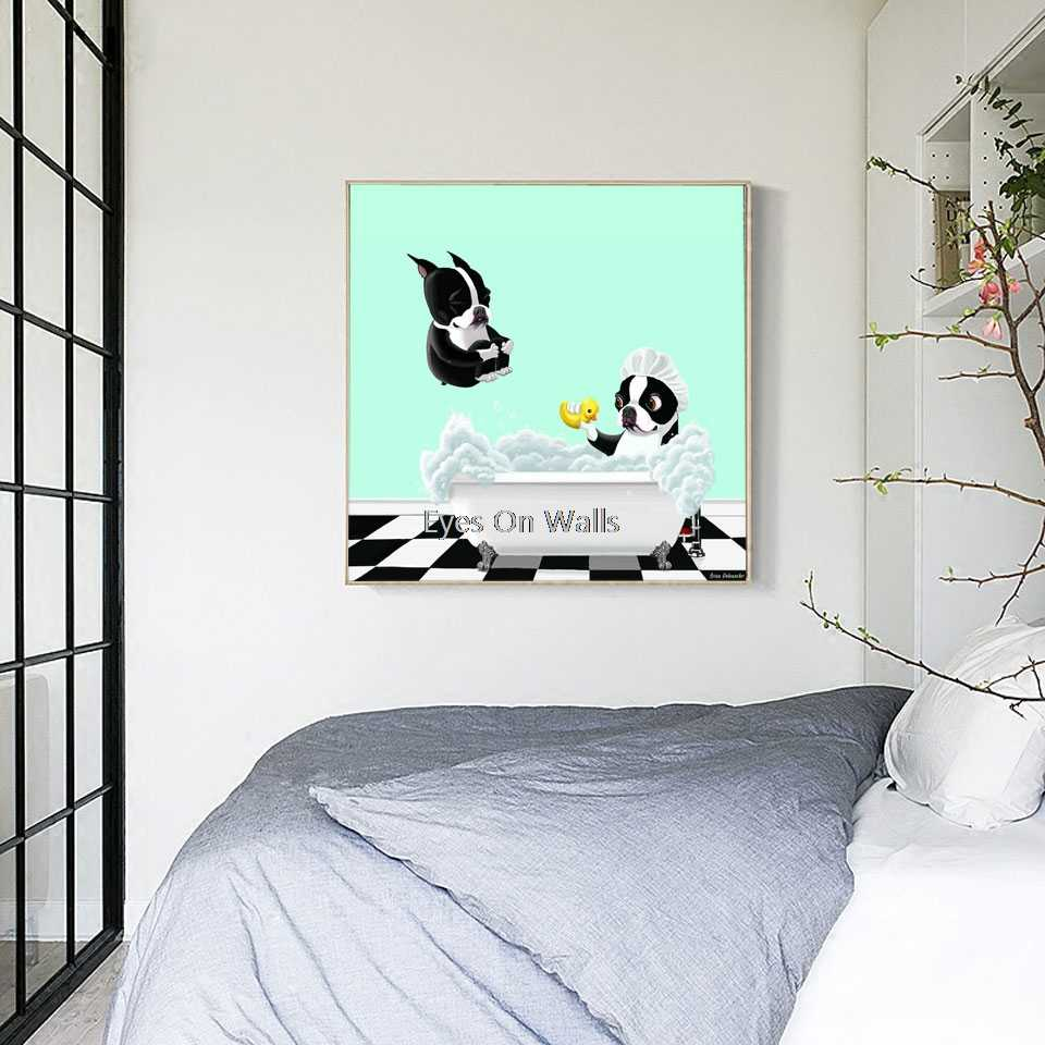 Nordic Animal Posters and Prints Cute Dog Bath Time Canvas Painting For Living Room Wall Pictures Modern Home Decor No Frame