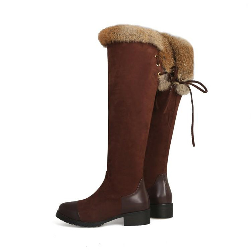 Women\`s Thigh High Boots Autumn Winter Slim Long Tube Over the Knee Boot Big Size 33-43 Female Snow Boots Black Brown Lady Shoe (5)