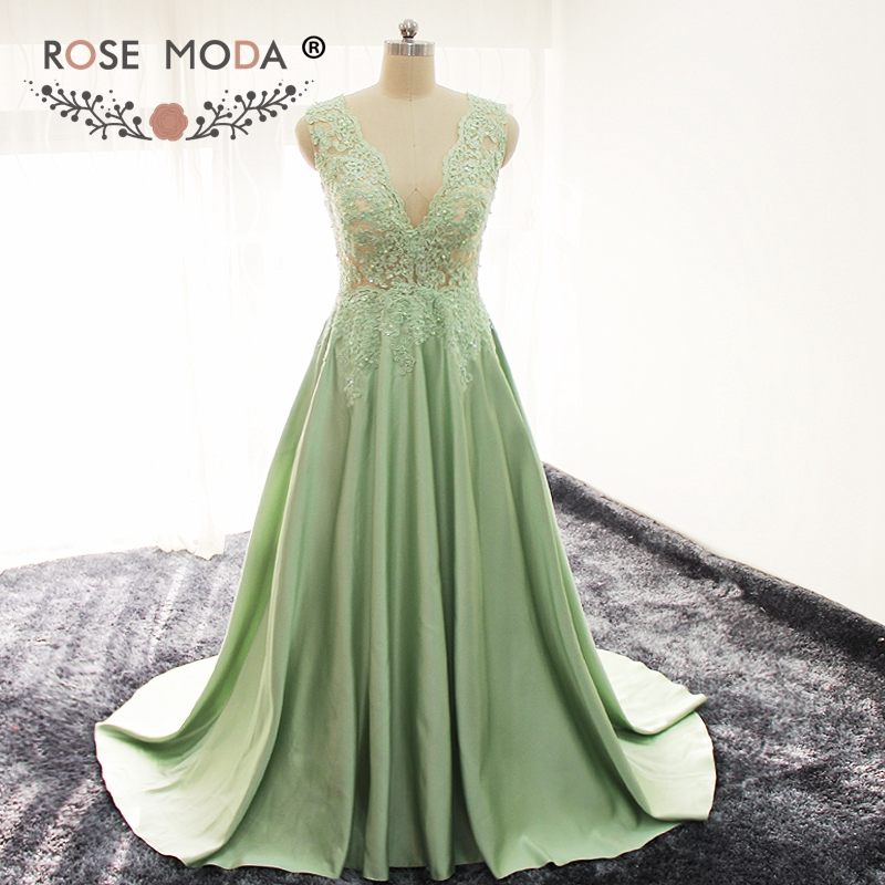 Rose Moda Sexy Deep V Neck Green   Evening     Dress   Lace Formal Party   Dresses   Reflective   Dresses   2019