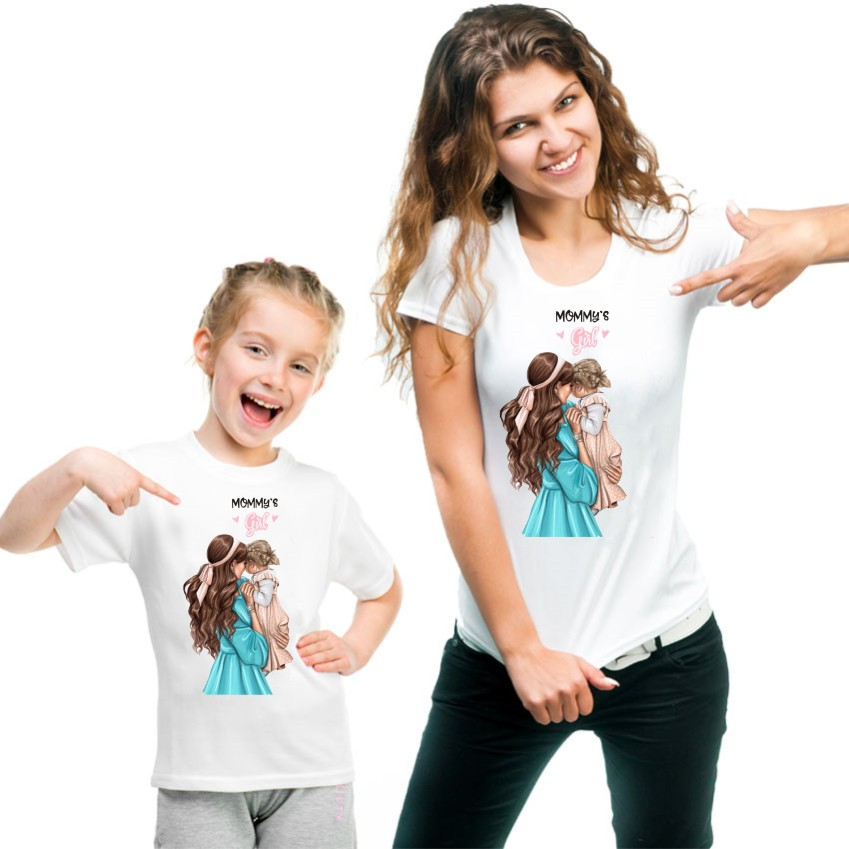 Mom And Daughter White Tshirt Short Sleeve Mommy And Me Clothes KT-1922
