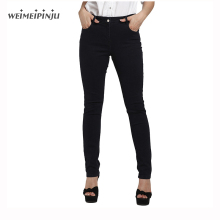 Fashion Jeans Female Autumn 2017 Capri Denim Pants Mujer Stretch Mom Zipper Jeans Large Size For Women Pure Color Black Trousers