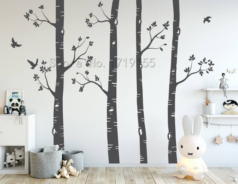 Nursery Wall Stickers Birch Trees Wall Decals Large Tree Wall Mural Set Of 4 Trees Birds